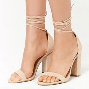NEW Faux Suede Wraparound Heels